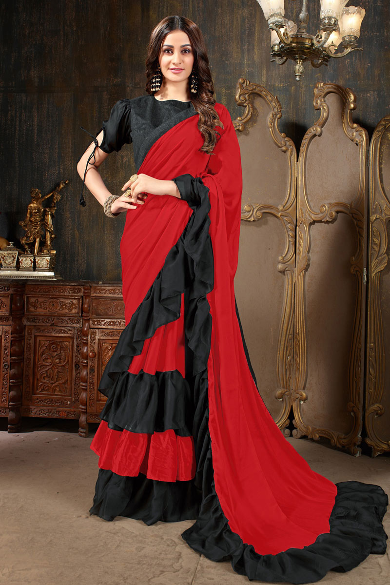 Gorgeous Georgette Fabric Festive Wear Red Saree