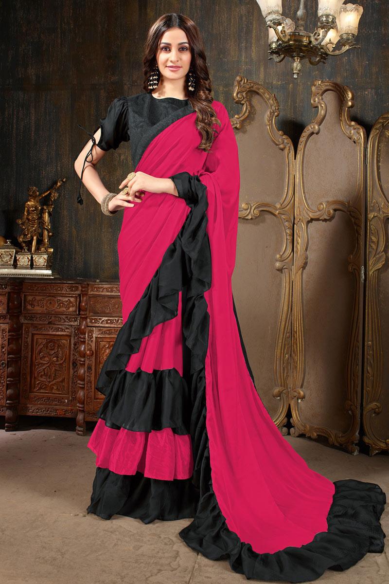 Function Wear Designer Dark Pink Saree In Georgette Fabric