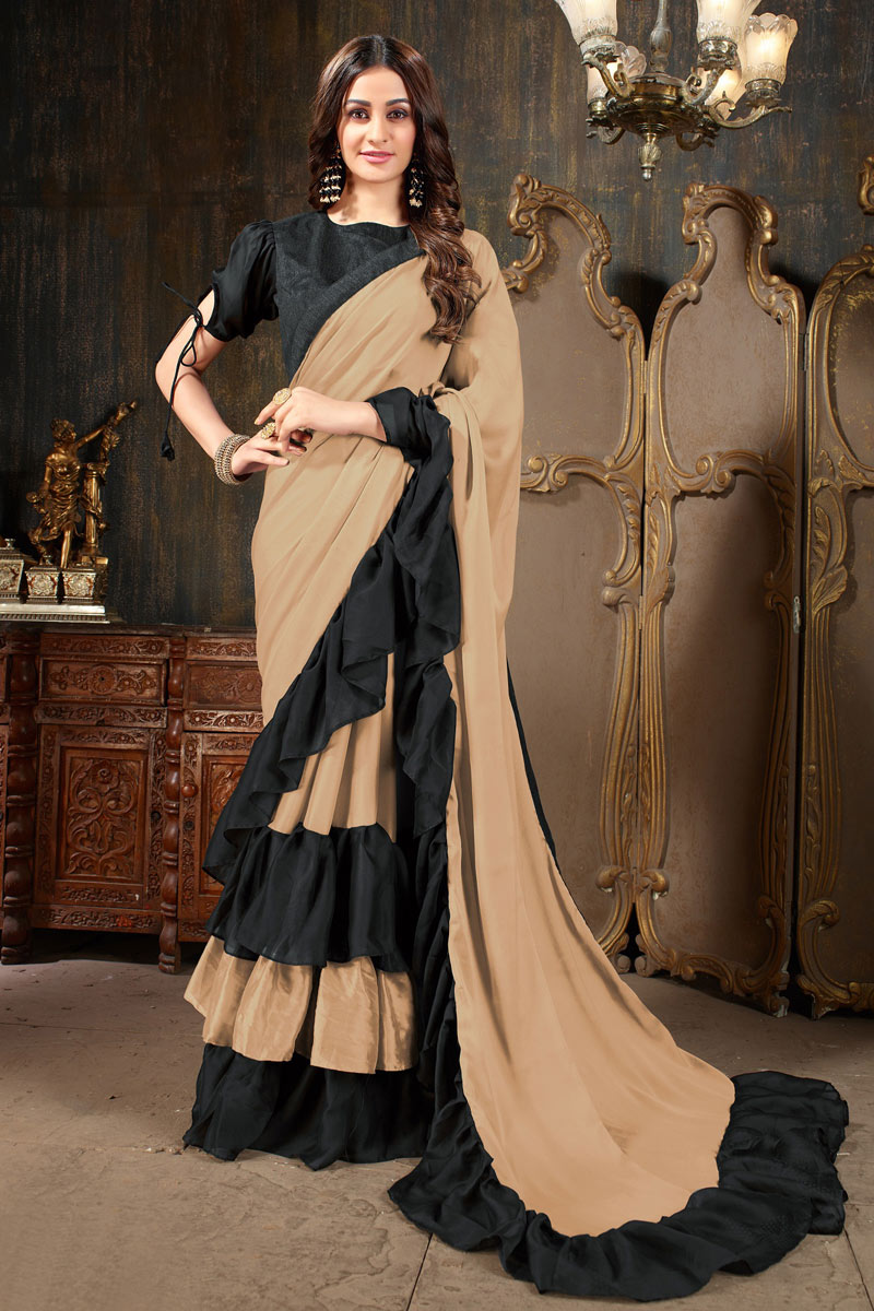 Soothing Chikoo Designer Festive Wear Saree In Georgette Fabric