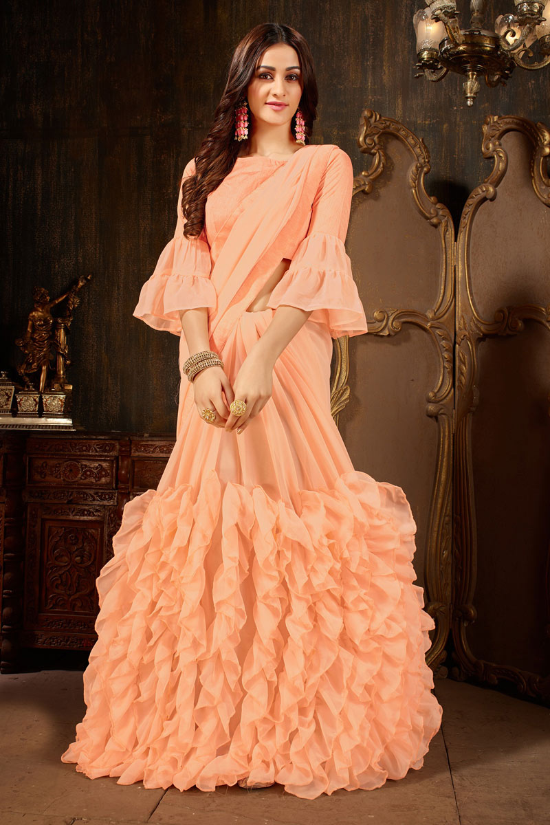 Georgette Fabric On Festive Wear Saree In Salmon With Mesmeric Blouse