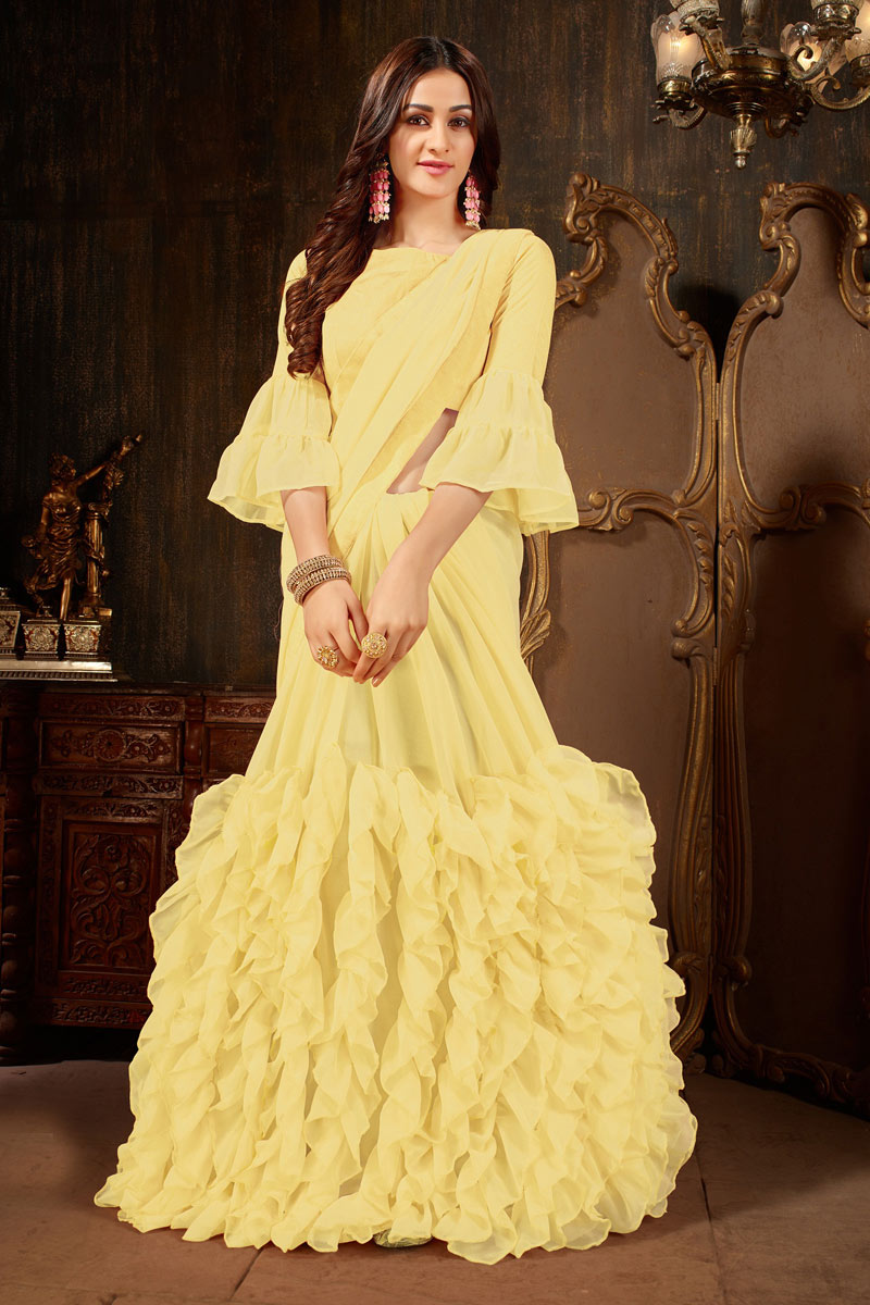 Radiant Georgette Fabric Yellow Function Wear Fancy Saree
