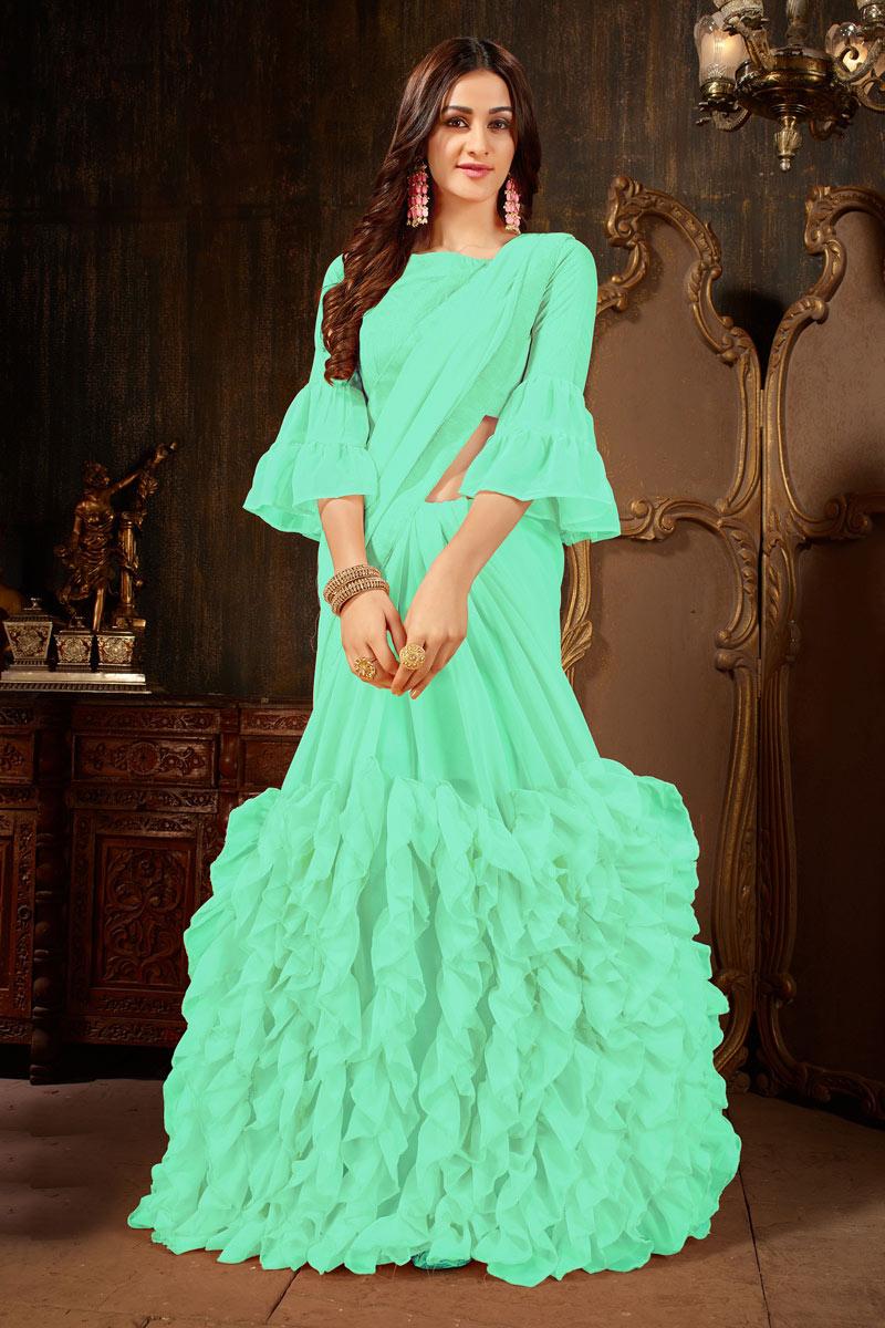 Excellent Sea Green Georgette Fabric Designer Saree