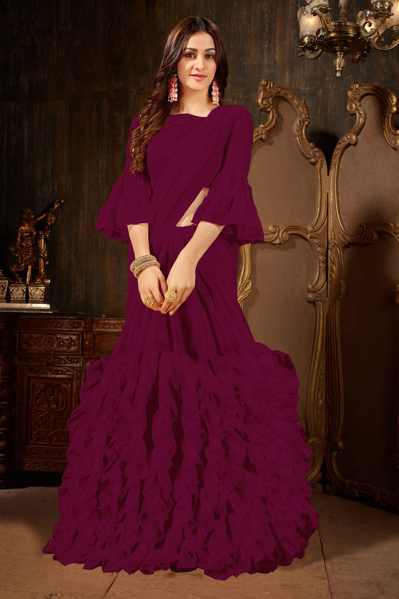 Tempting Purple Georgette Fabric Function Wear Saree