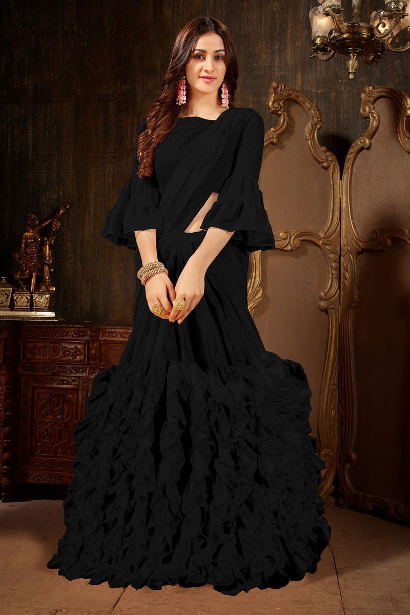Engaging Georgette Fabric Black Designer Saree