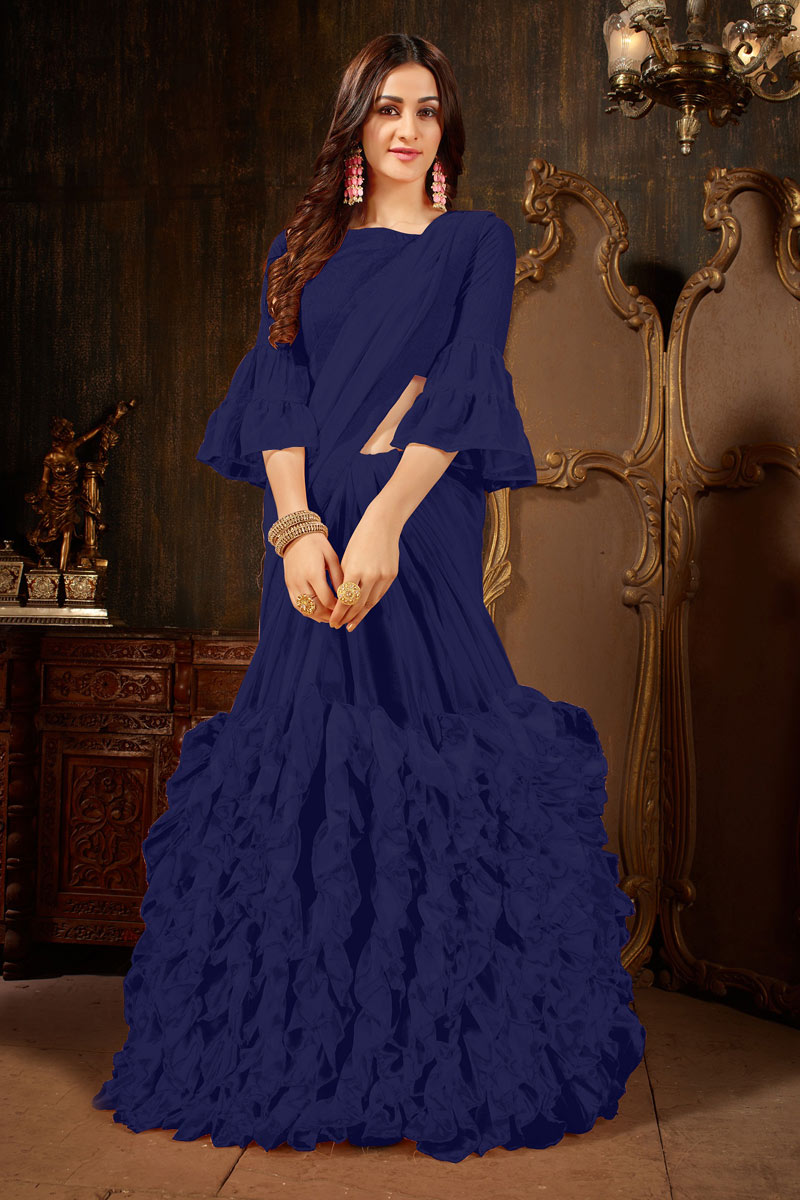 Classic Designs On Georgette Fabric Occasion Wear Saree In Navy Blue