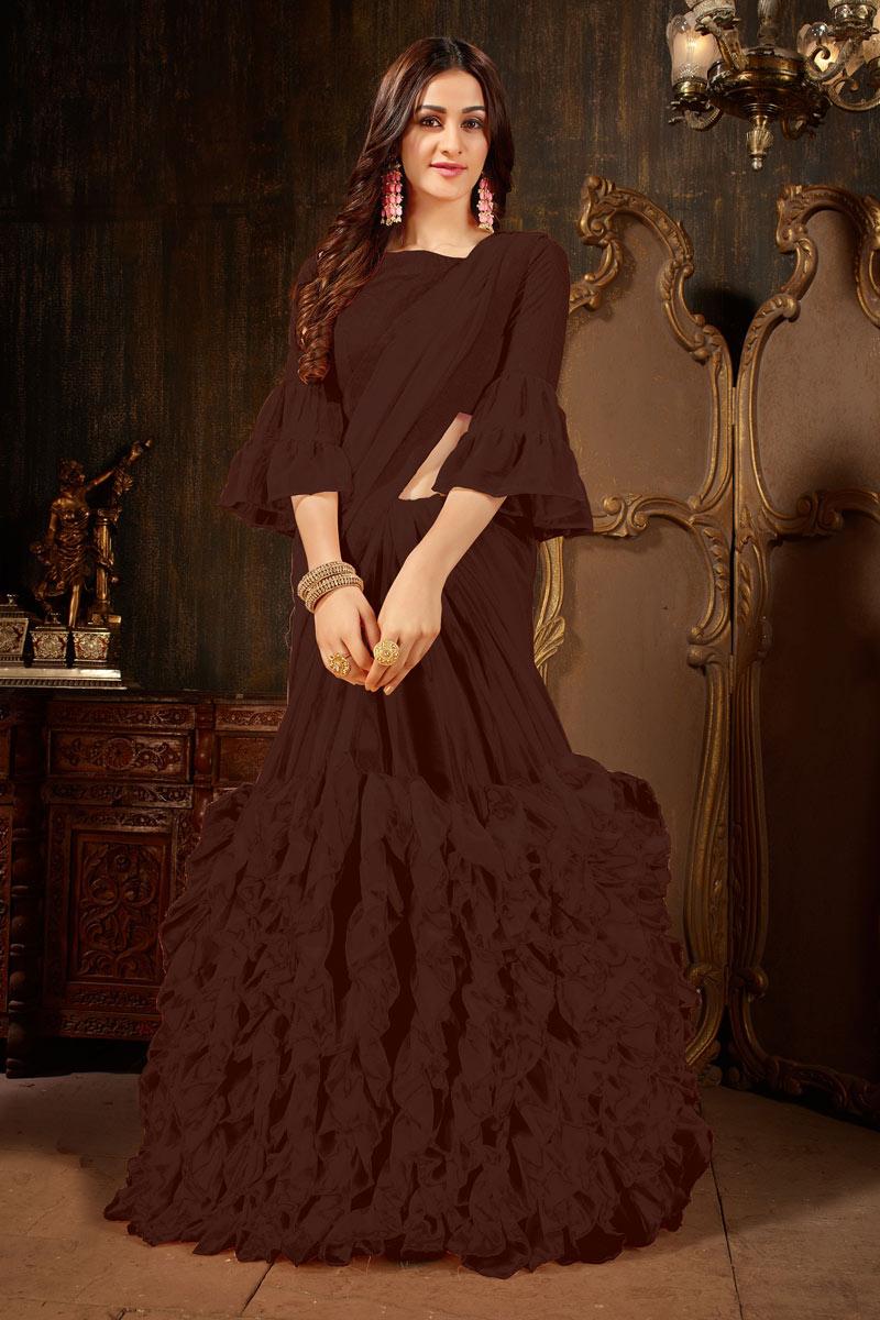 Brown Georgette Fabric Festive Wear Saree