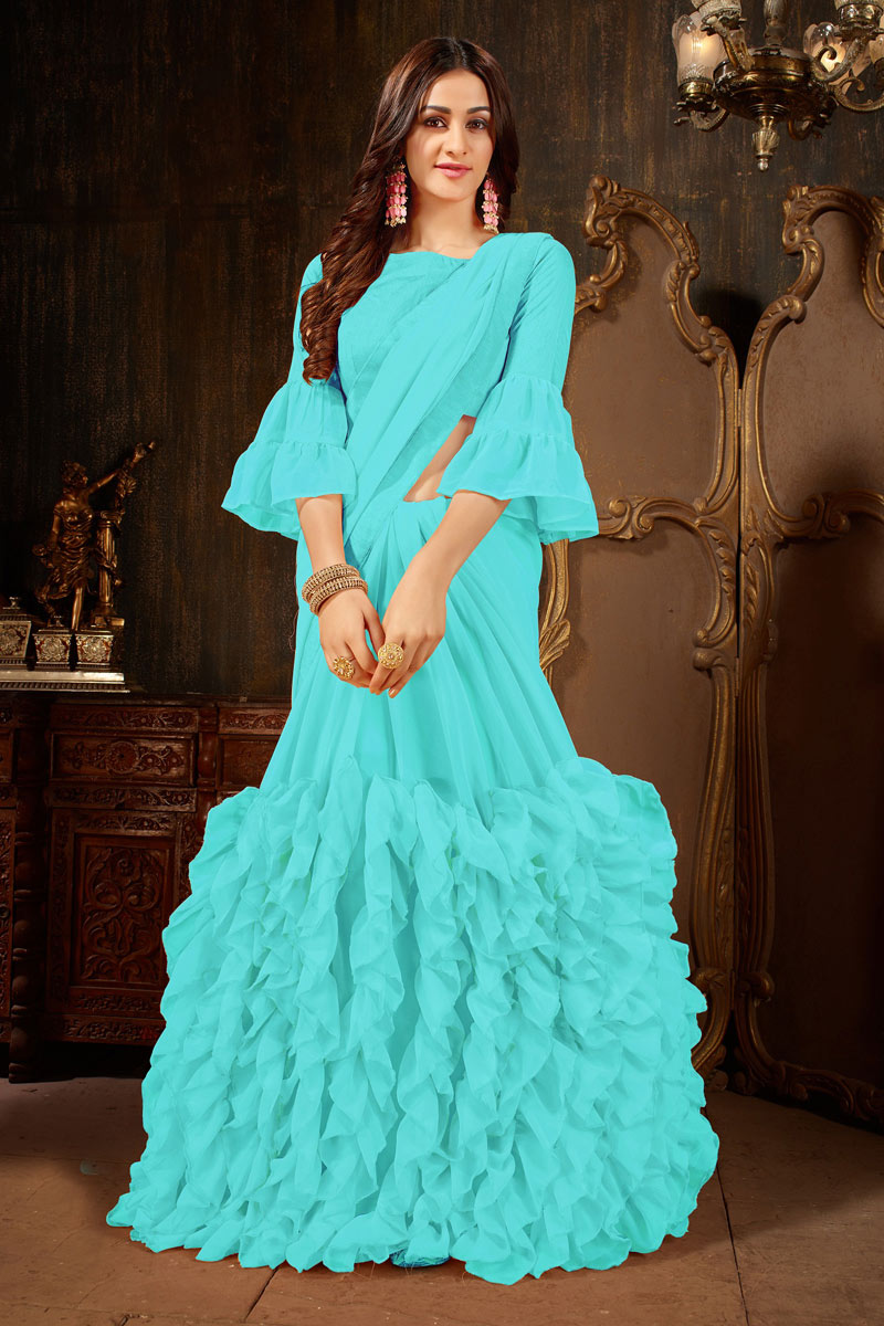 Creative Designer Saree In Georgette Fabric Cyan
