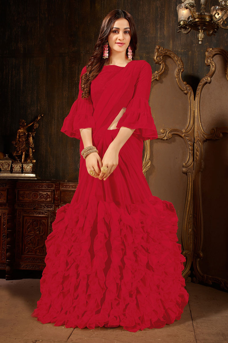 Marvelous Red Party Wear Saree In Georgette Fabric