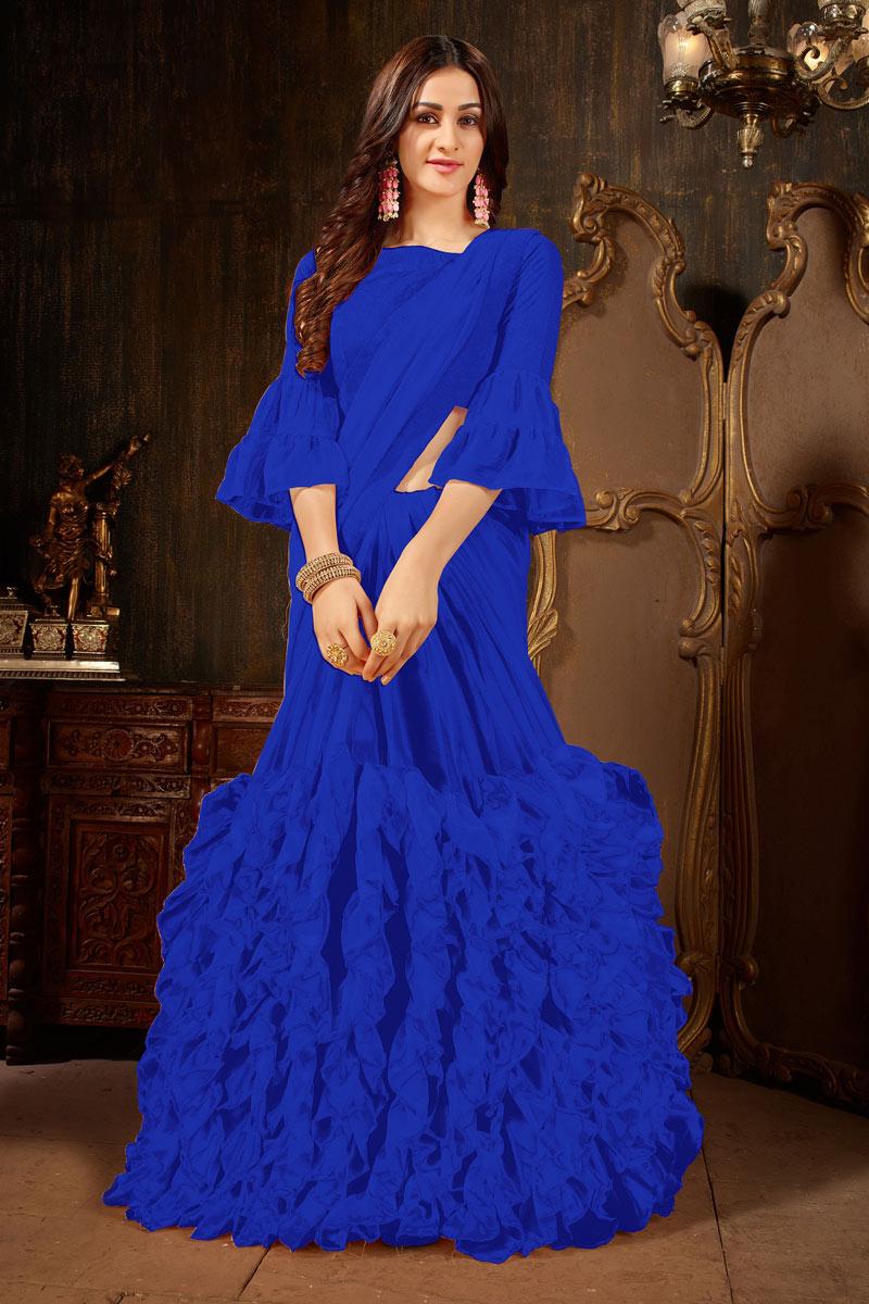 Pleasing Georgette Fabric Party Wear Designer Blue Saree