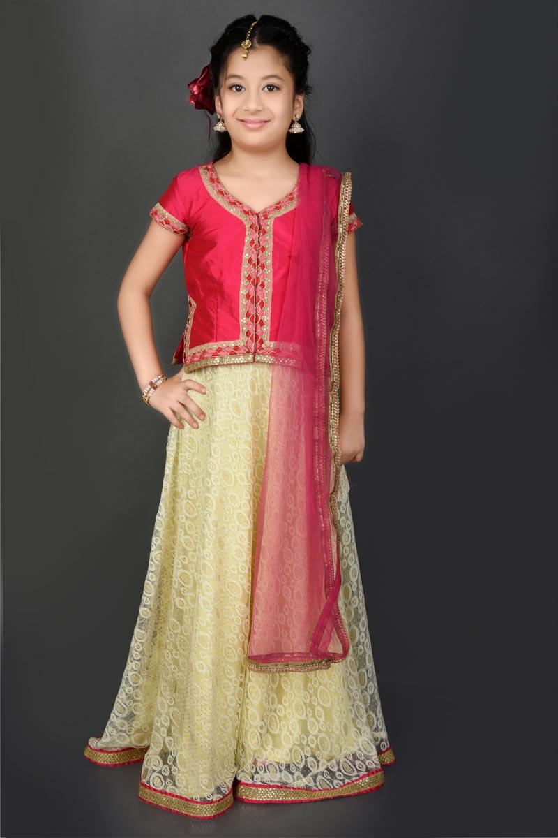 Function Wear Fancy Fabric Beige Lehenga Choli For Girls