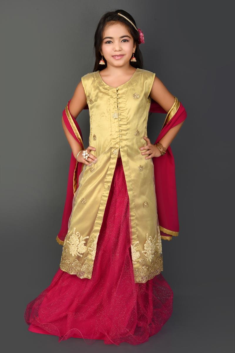 Function Wear Pink Fancy Fabric Lehenga Choli For Girls