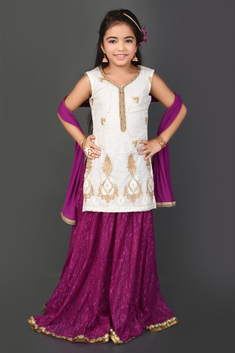 Function Wear Fancy Fabric Off White Lehenga Choli For Girls