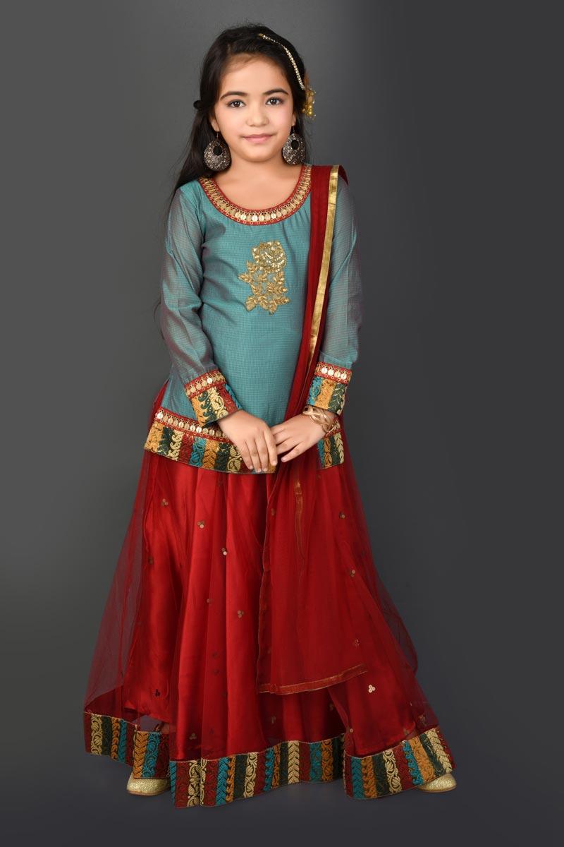 Function Wear Fancy Fabric Red Lehenga Choli For Girls