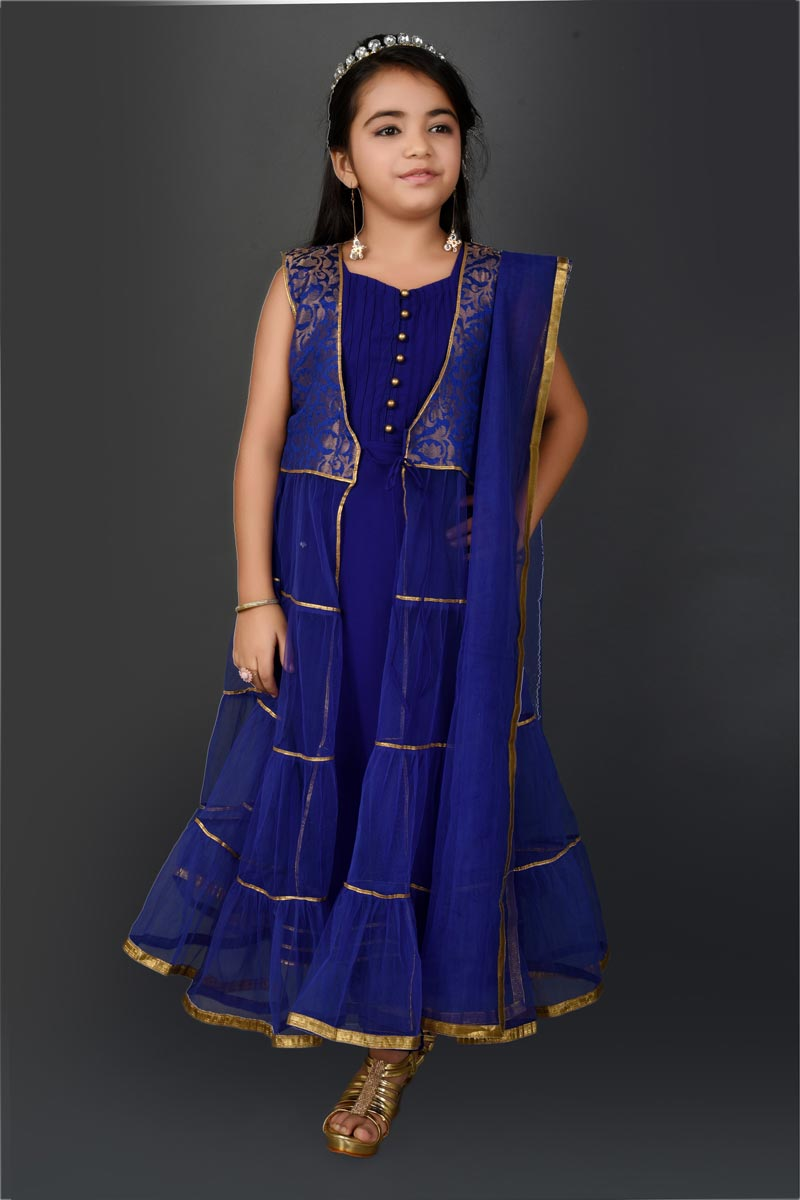 Party Style Designer Fancy Fabric Blue Ethnic Anarkali Suit For Girls