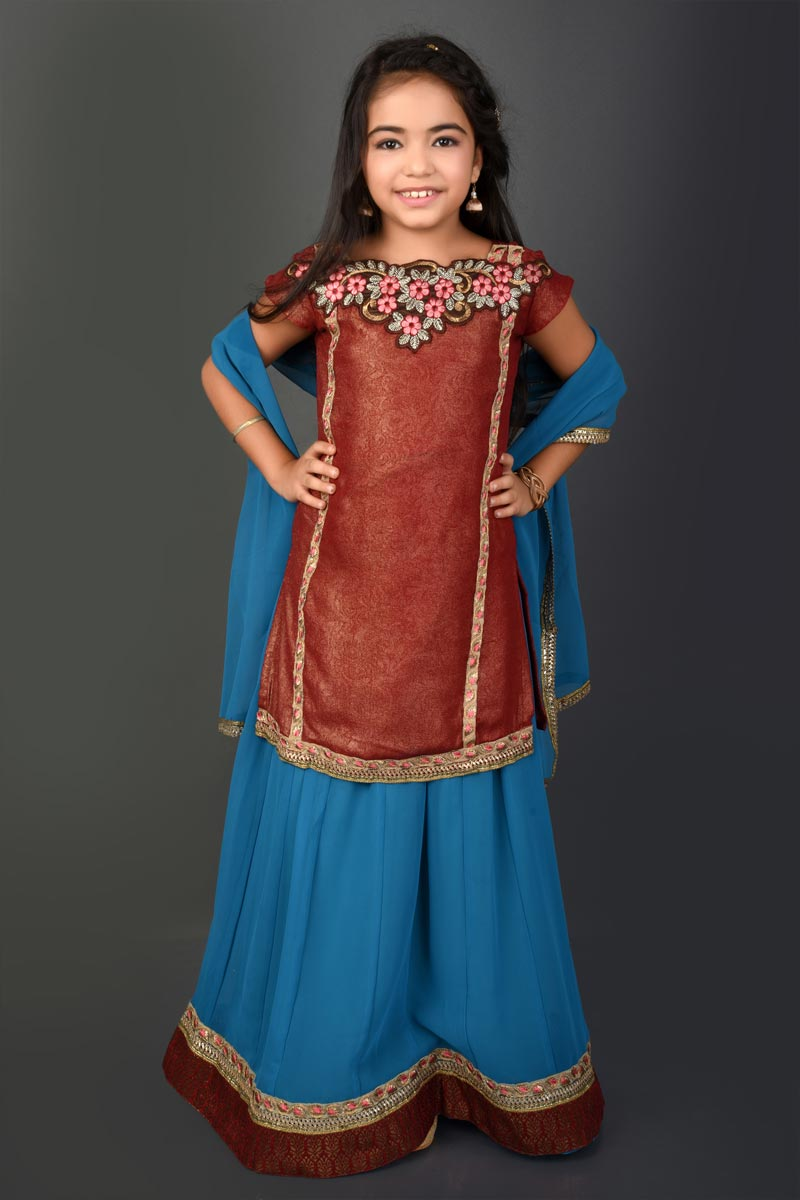 Function Wear Fancy Fabric Sky Blue Lehenga Choli For Girls
