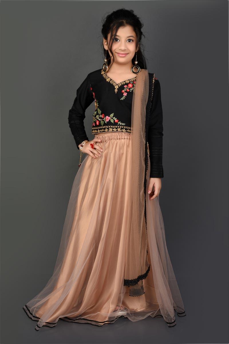 Function Wear Fancy Fabric Beige Color Lehenga Choli For Girls