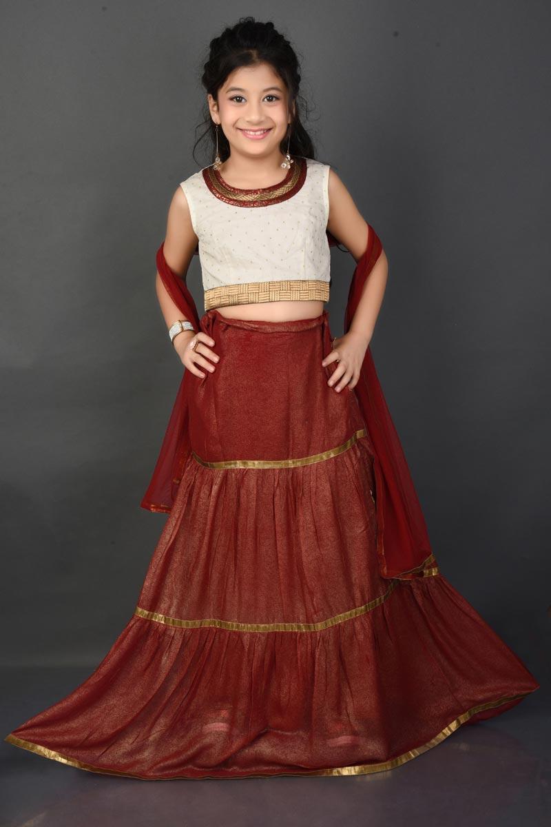 Function Wear Maroon Fancy Fabric Lehenga Choli For Girls