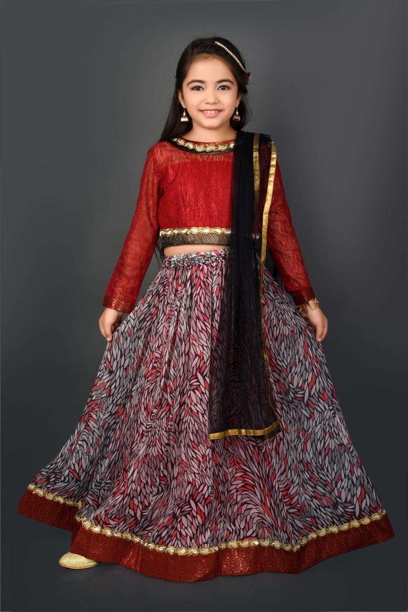 Function Wear Fancy Fabric Maroon Lehenga Choli For Girls