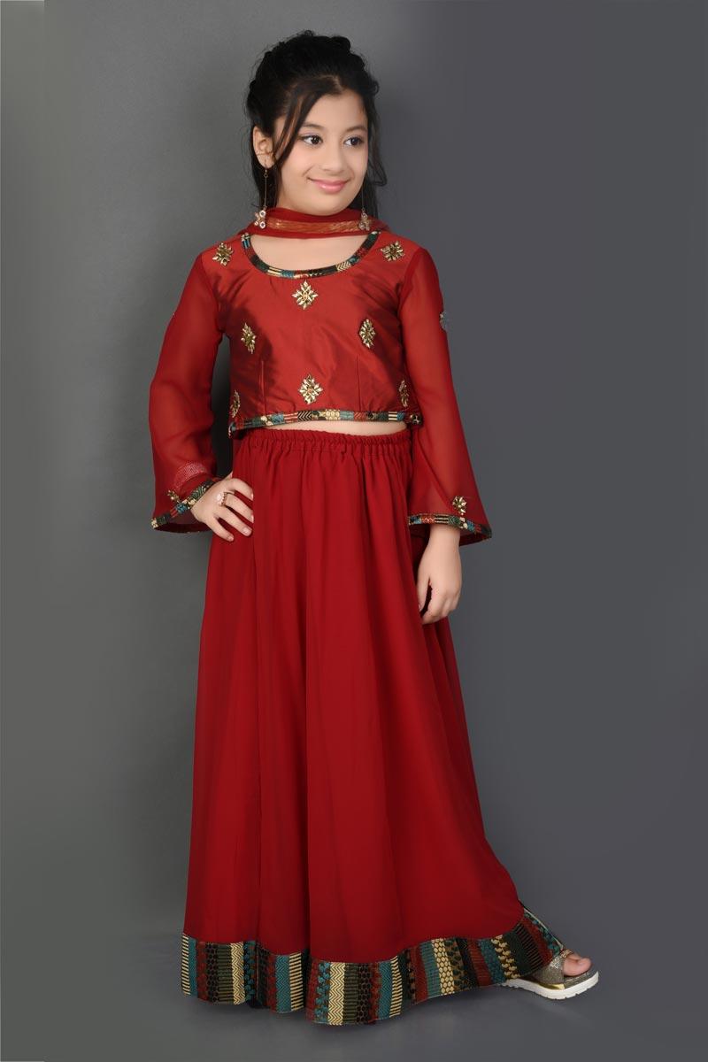Function Wear Maroon Lehenga Choli For Girls In Fancy Fabric