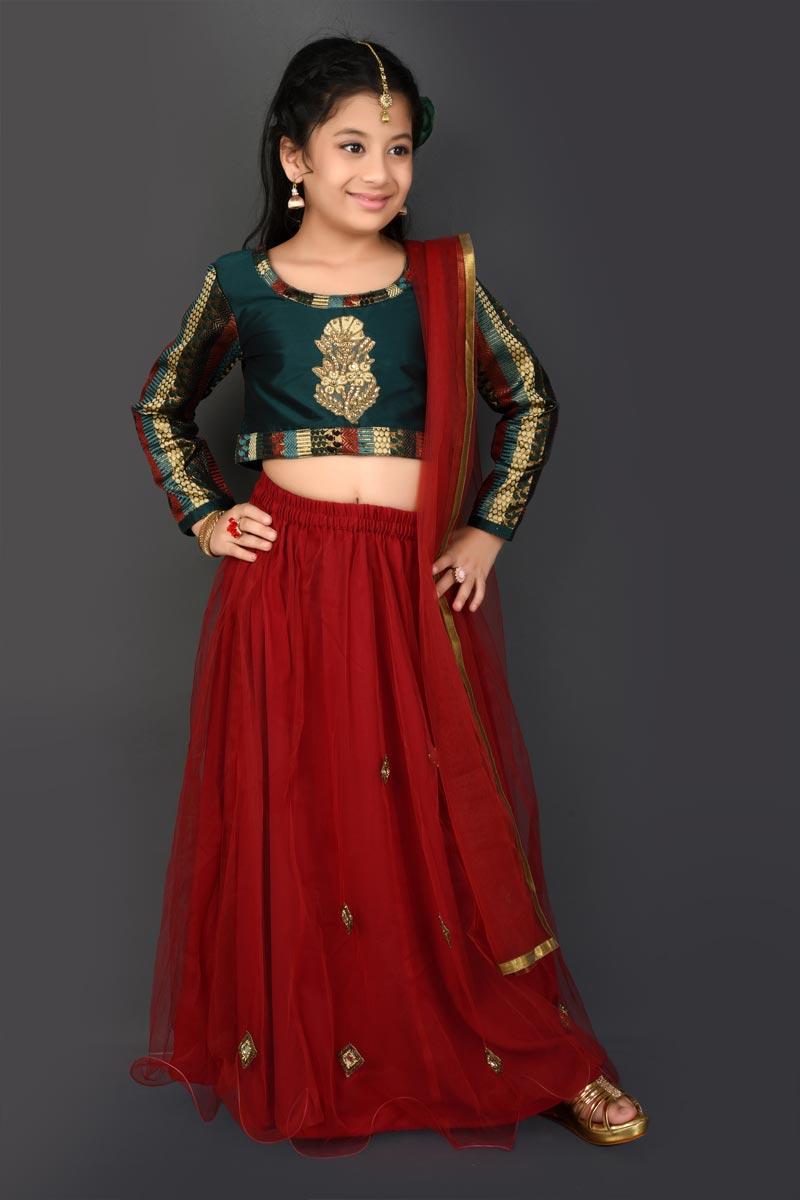 Fancy Fabric Function Wear Maroon Lehenga Choli For Girls
