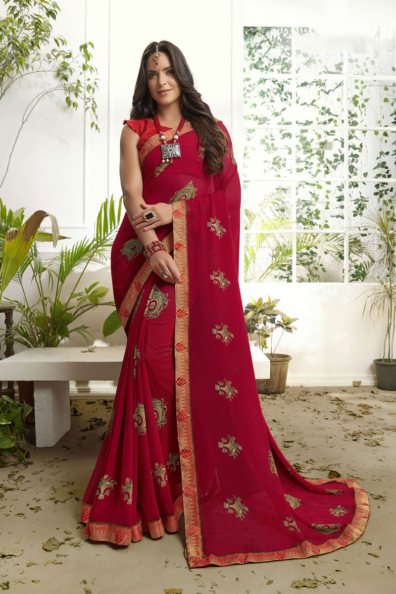 Georgette Fabric Red Color Printed Daily Wear Saree