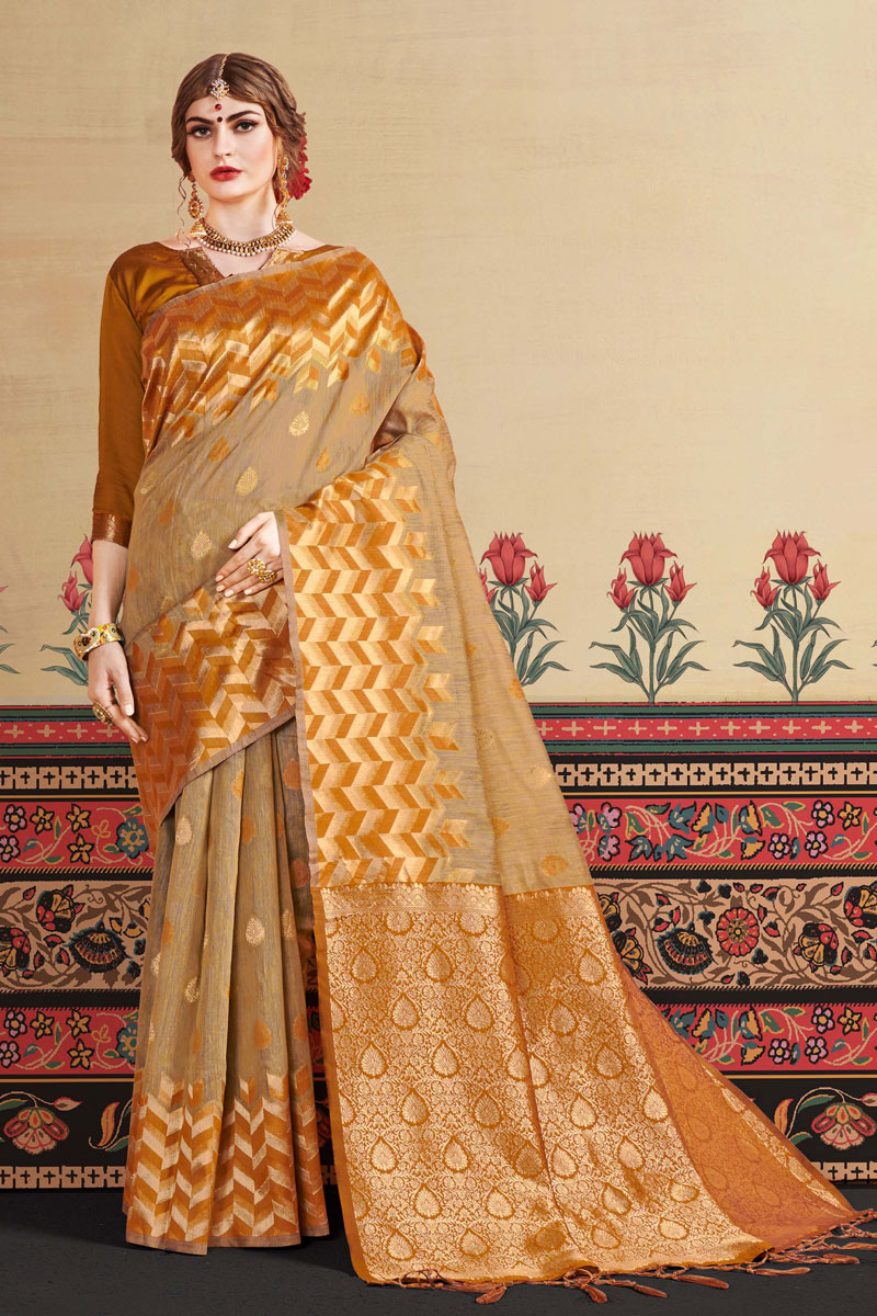 Coffee Art Silk Fabric Party Wear Saree With Jacquard Work And Blouse