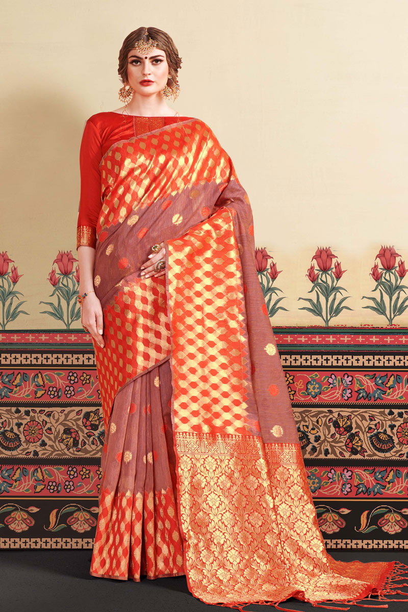 Jacquard Work And Blouse With Art Silk Fabric Burgundy Function Wear Saree