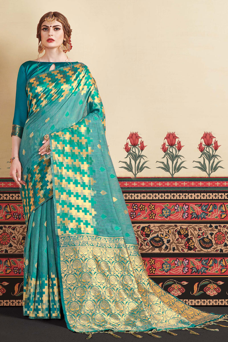 Art Silk Fabric Cyan Occasion Wear Saree With Jacquard Work And Blouse