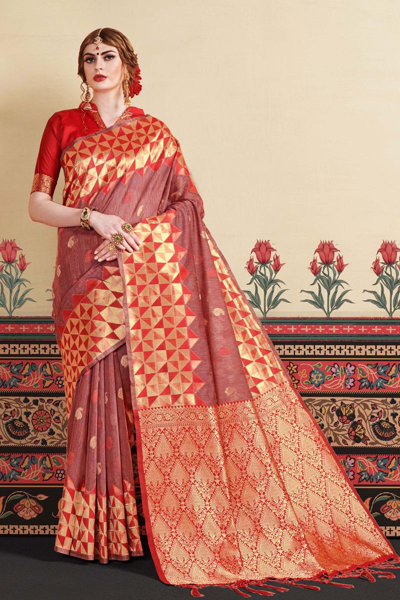 Burgundy Art Silk Fabric Designer Saree With Jacquard Work And Blouse