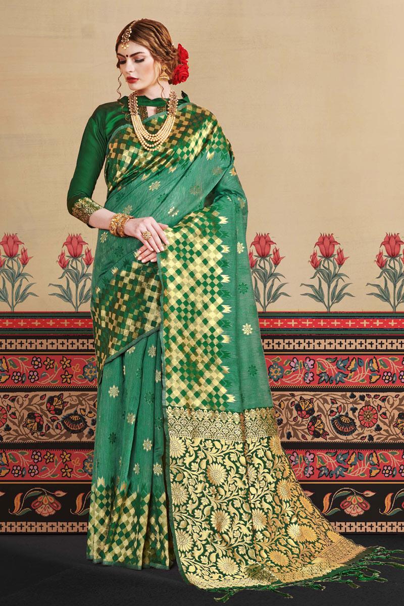 Jacquard Work On Art Silk Fabric Designer Saree In Green