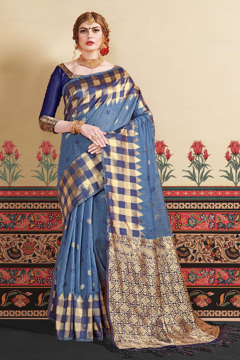 Blue Party Wear Saree In Art Silk Fabric With Jacquard Work