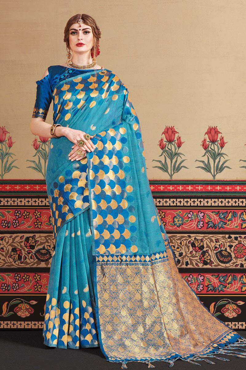 Jacquard Work Art Silk Fabric Wedding Wear Sky Blue Saree With Blouse