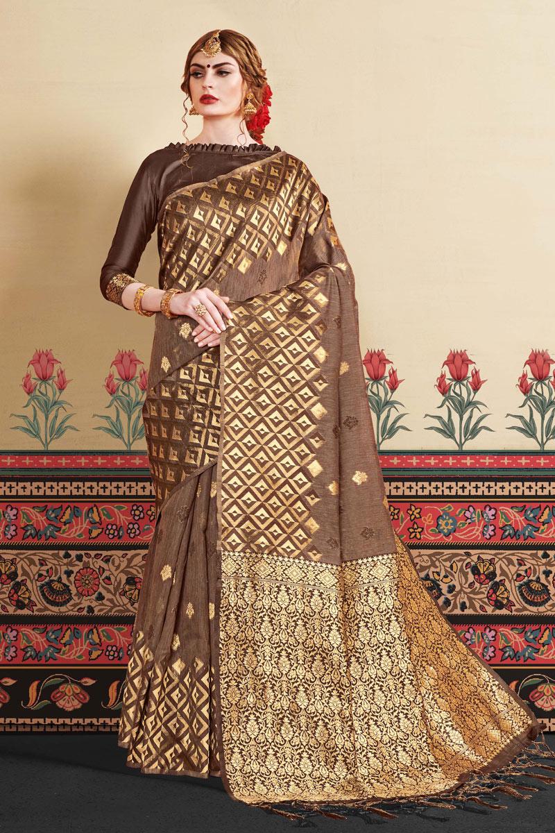 Dark Brown Art Silk Fabric Designer Jacquard Work Saree With Blouse