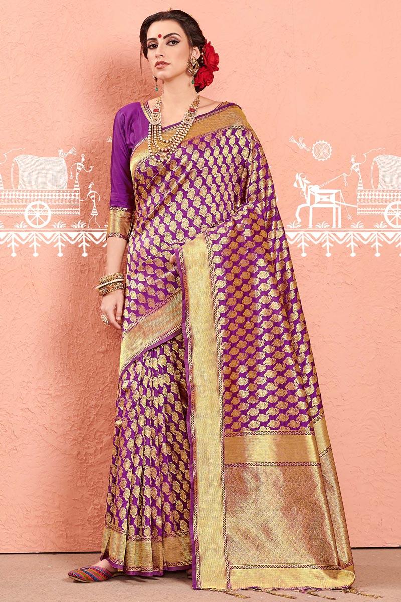 Casual Party Wear Purple Fancy Saree In Art Silk With Weaving Work