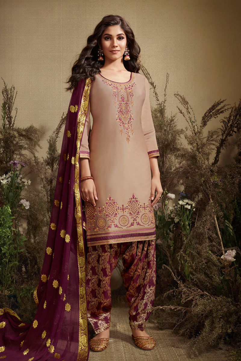Embellished Chikoo Designer Party Wear Patiala Suit In Cotton Silk Fabric