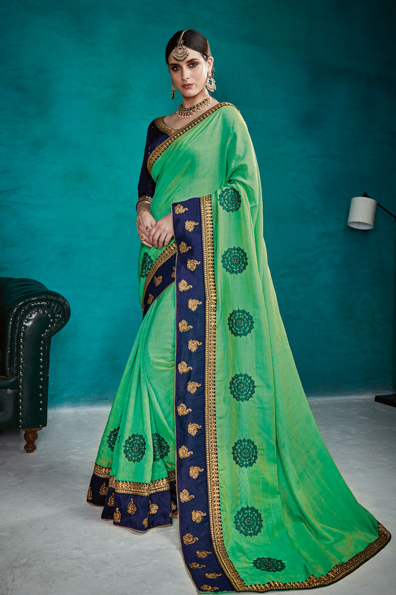 Sea Green Color Art Silk Fabric Designer Saree With Embroidery Designs