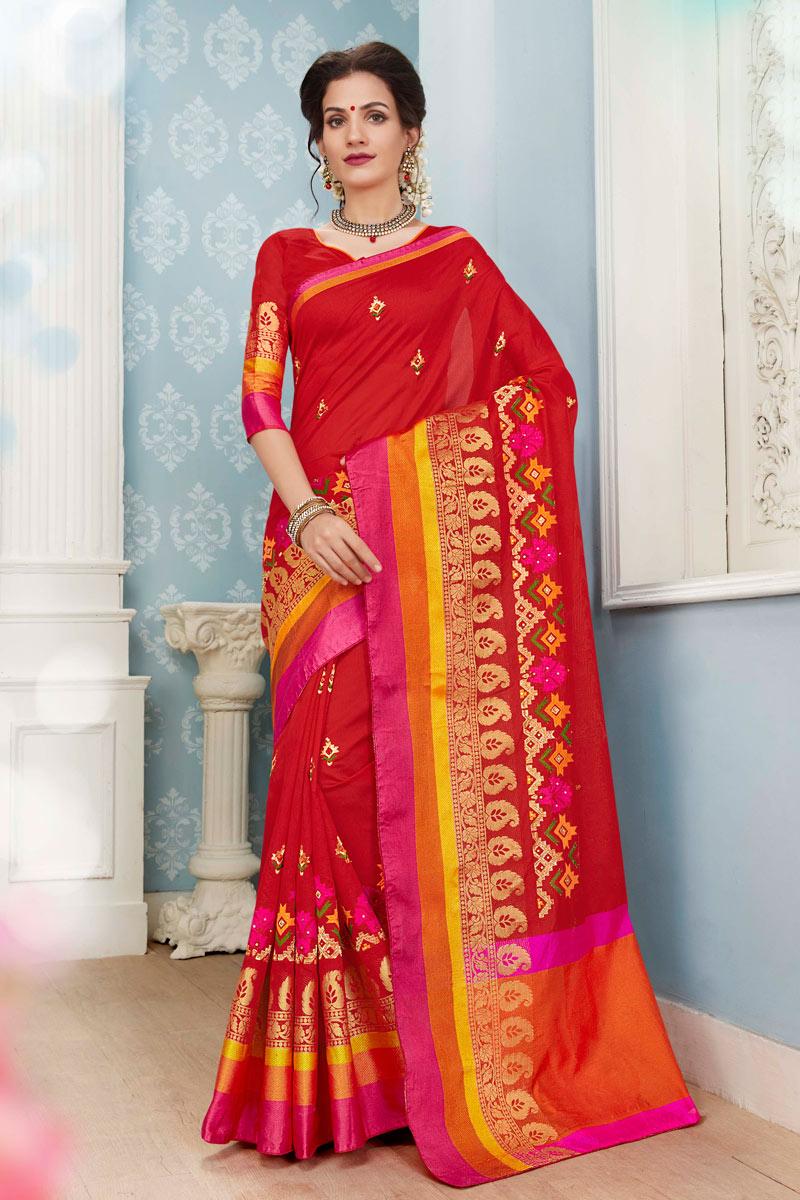 Festive Wear Traditional Cotton Fabric Saree In Red With Weaving Work