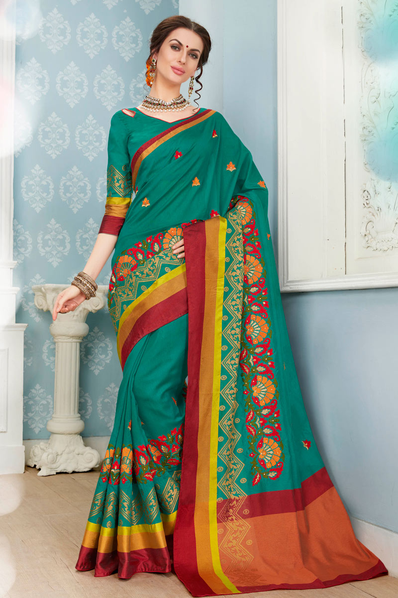 Traditional Weaving Work Function Wear Cyan Fancy Cotton Fabric Saree