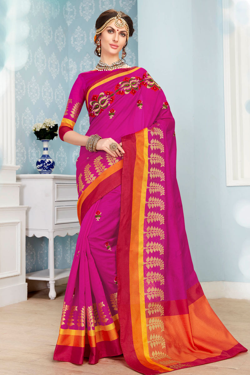 Traditional Festive Wear Rani Color Designer Cotton Fabric Saree With Weaving Work