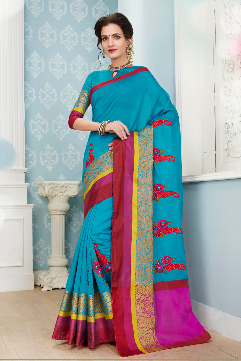Traditional Function Wear Fancy Sky Blue Weaving Work Saree In Cotton Fabric