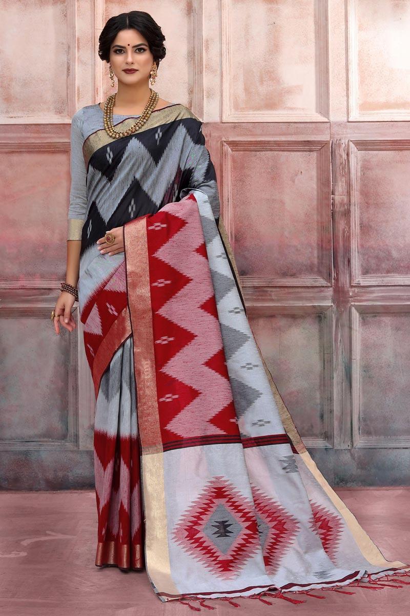 Sangeet Wear Art Silk Fabric Designer Weaving Work Saree In Grey