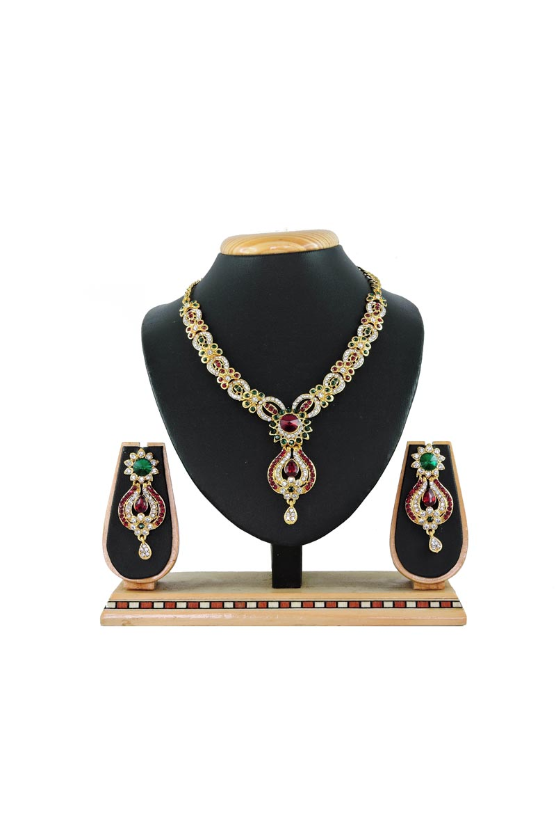 Multi Color Designer Artificial Necklace In Alloy Metal