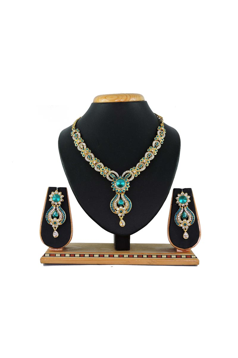 Cyan Alloy Metal Designer Imitation Necklace Set