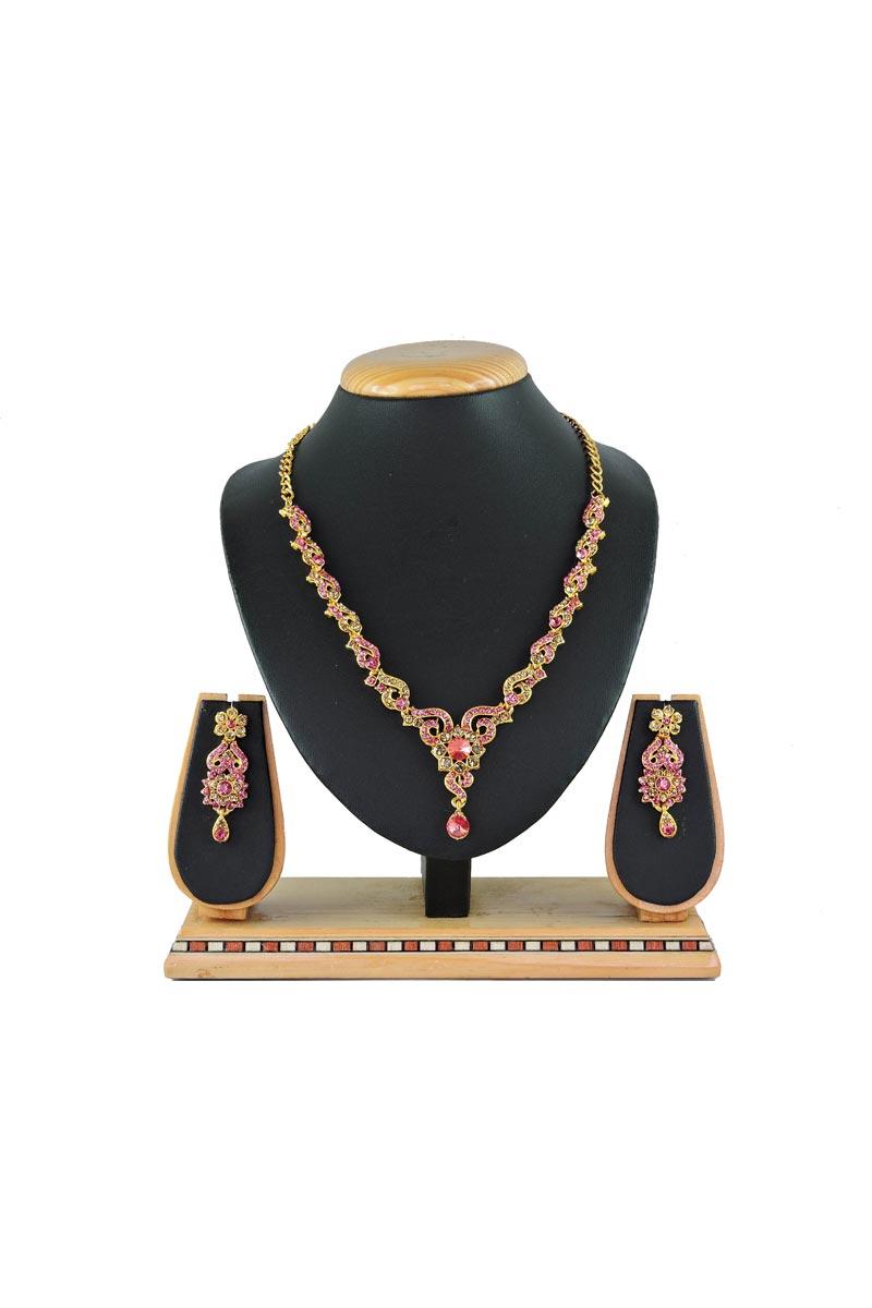 Pink Designer Artificial Necklace In Alloy Metal