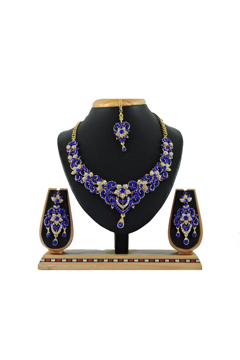 Blue Function Wear Designer Necklace With Earring And Maang Tika