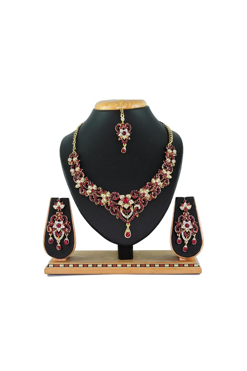 Maroon Designer Function Wear Necklace With Earring And Maang Tika