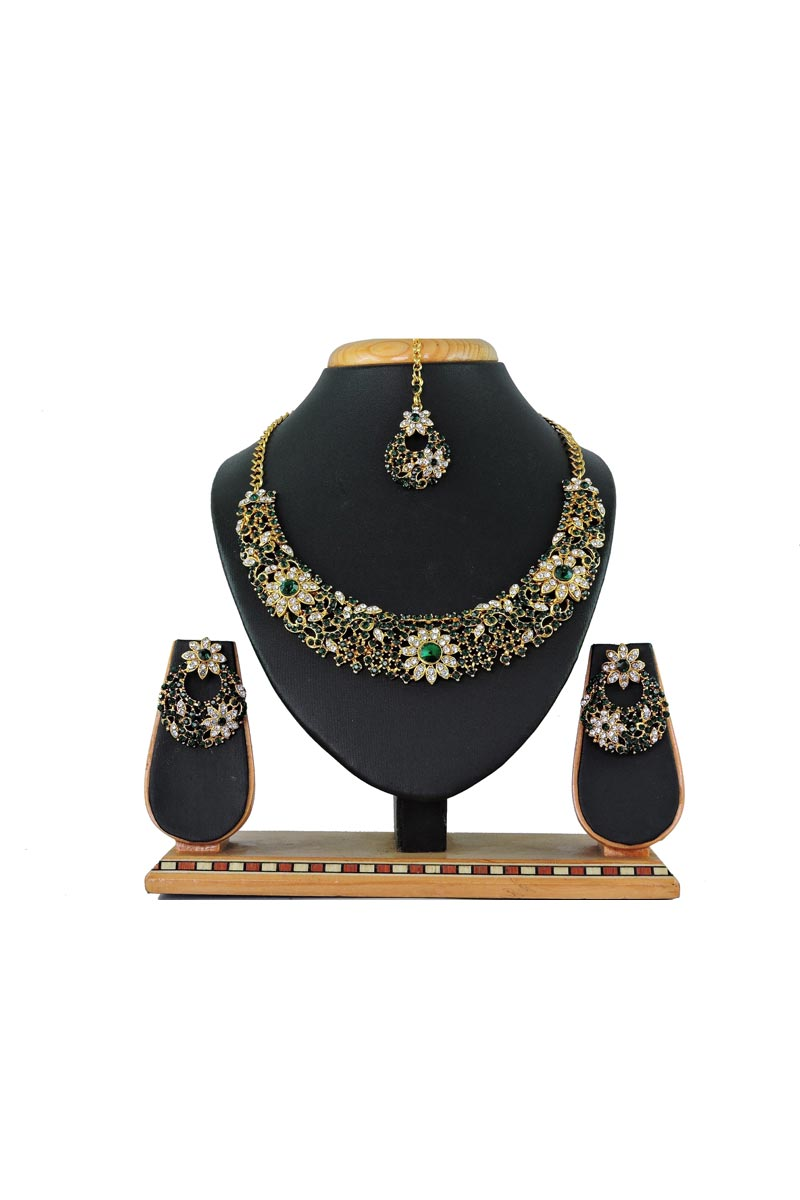 Pearl Studded Green Necklace With Earring And Maang Tika For Function