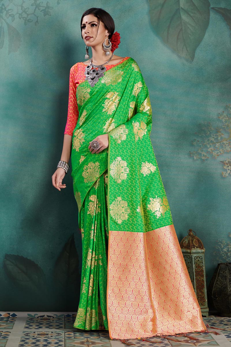 Sangeet Function Wear Art Silk Weaving Work Designer Green Saree