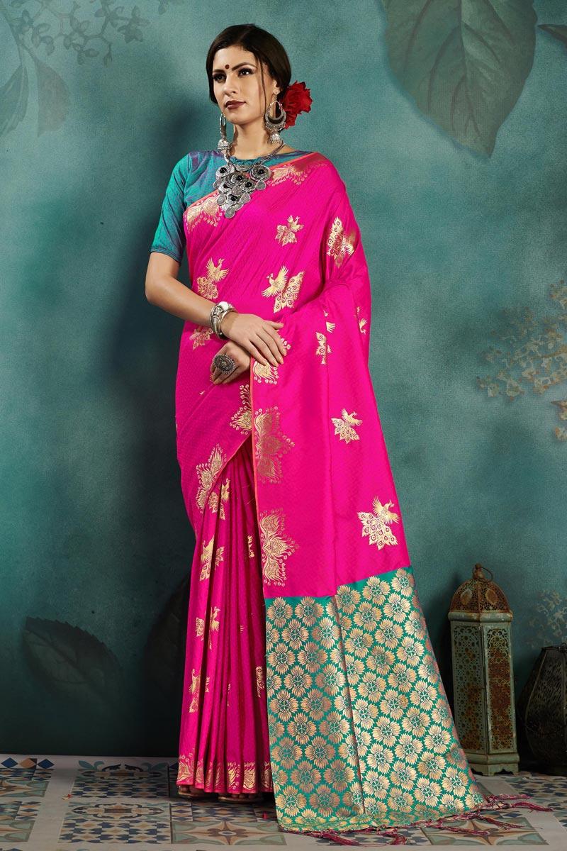 Rani Color Sangeet Function Wear Weaving Work Designer Saree In Art Silk