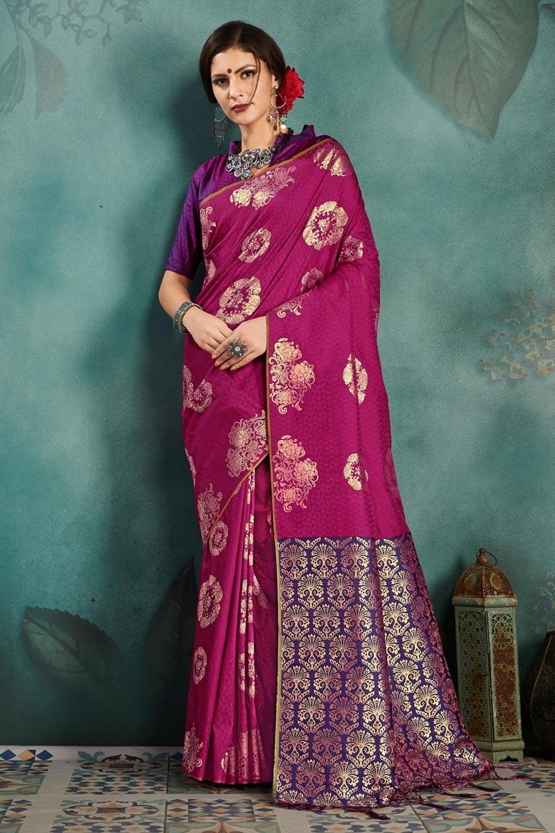 Sangeet Function Wear Art Silk Designer Weaving Work Purple Saree